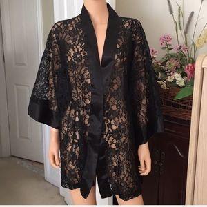 Vintage Victoria Secret black lace and satin robe